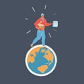 Vector illustration of courier man walk around Earth globe on dark backround.