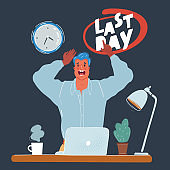 Vector illustration of panicked man at working face at night end of working day. Calendar date last day month deadline on dark background.