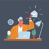 Vector illustration of man sitting at desk. Manager sending emails on dark background.