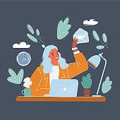 Vector illustration of Woman sitting at desk. Manager sending emails on dark background.