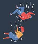 Vector illustration of young people falling from sky. Man and woman on dark background.