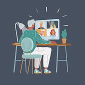 Vector illustration of Group Friends Video Chat Connection Concept on dark backround.
