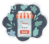 Vector illustration of online shopping on smartphones screen.