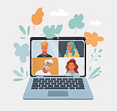 Vector illustration of laptop computer with group of people on the screen taking part in video conference. Videoconferencing and online communication. Virtual work meeting