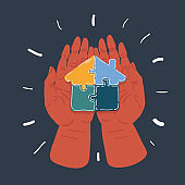 Vector illustration of jigsaw house in human hands on dark background.