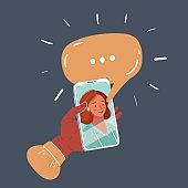 Vector illustration of isolated woman hand holding smartphone. Woman talk on phone screen. Speech bubble above. Object on dark background