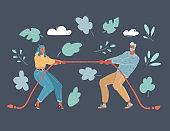Vector illustration of couple quarrel, tug-of-war. Man and Woman are fighting each other