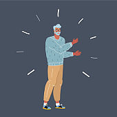 Vector illustration of nerd man on dark background.