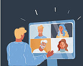 Vector illustration of man who taking online consultation concept with few people on screen