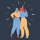 Vector illustration of Pair of pretty young women standing together and hugging. Close friends or sisters embracing and laughing. Female cahracter on dark backround.
