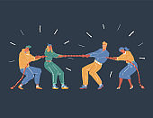 Vector illustration of business competition tug of war two vs two people. onfrontation of generations concept. ompetition, confrontation, competition on dark. Man, woman on dark background.