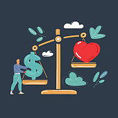 Vector illustration of Work life balance concept, Man with big scales perfectly balanced on dark backround.