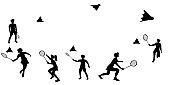 Banner with silhouettes of several badminton players in motion