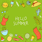 Frame background with cute summer items on green background - cartoon objects for happy beach design