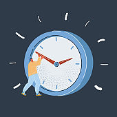 Vector illustration of man try to stop timing business concept