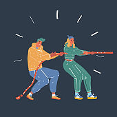 Vector illustration of Full length of business people playing tug of war on dark background.