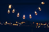 String light bulbs in night