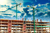 Construct with building crane