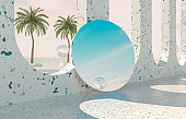 Summer beach scene background with mirror reflect the sky.