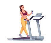 Young woman exercising on treadmill. Happy smiling girl walking or running with water bottle in hand vector illustration. Healthy active lifestyle. Female on white background