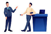 Business speaker giving talk and show presenter. Young man with microphone doing presentation, host listening and recording vector illustration. Event or forum convention