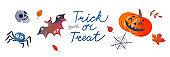 Halloween treat and trick, skull bat, spooky spider web, pumpkin in Halloween collection