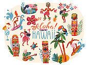 Hawaii aloha tropical summer elements set. Hawaiian party and beach vintage travel poster vector illustration. Girl dancers, man surfing, fruit, bird, tree, wooden totem figures
