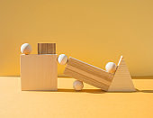 Complex geometrical composition with wooden objects.