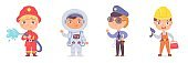 Kid professions set. Cute boys with professional occupations vector illustration. Children as fireman with hose, astronaut in spacesuit, police officer, builder on white background