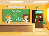 Chemistry lesson in classroom. Education in school vector illustration. Girl and boy doing chemistry experiment at school. Blackboard and bookcase