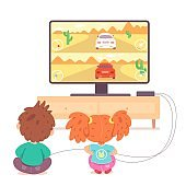 Kids playing video games on tv at home. Happy boy and girl holding console and playing videogames with joysticks in hands. Entertainment at home with technology vector illustration