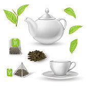 Green herbal tea elements set. Teapot, cup on plate, square and triangular teabag, pile of dried leaves, plant on branch vector illustration. Healthy drink on white background
