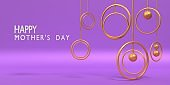 Metal Gold Circles with Happy Mother's Day Text to Celebrate Mother's Day