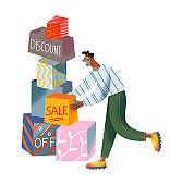 Man with purchase boxes with discount sale text on shopping, enjoying black friday
