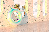 Summer beach scene background with holographic Inflatable ring Pool Float.