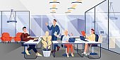 People working in office. Workplace vector illustration. Men and women working with laptops and talking together. Horizontal panorama of workspace