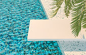 Summer pool scene background with white board podium and palm leaves.