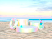 Abstract summer beach scene with a podium background.