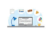Vector conceptual illustration of online shopping. A laptop with an inscription on the screen and various icons of goods and services nearby