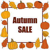 Autumn sale vector promotion square banner on white