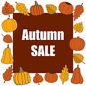 Autumn sale vector promotion square banner on red.