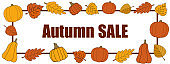 Autumn sale vector promotion rectangle banner on white.