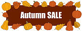 Autumn sale vector promotion rectangle banner on red.