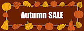 Autumn sale vector promotion rectangle banner with white frame