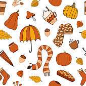 Autumn weather vector seamless pattern on white background