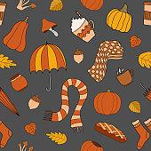Autumn weather vector seamless pattern on gray background