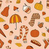 Autumn weather vector seamless pattern on begie background