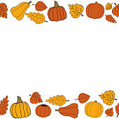 Happy fall vector autumn seamless pattern frame