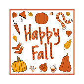 Happy fall autumn vector clipart with square frame