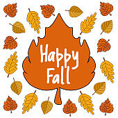 Happy fall autumn leaves vector clipart on white